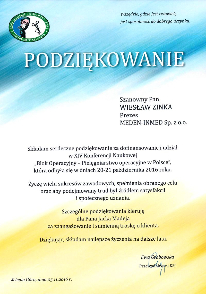 Podziękowania - XIV Konferencja - Blok operacyjny – Pielęgniarstwo operacyjne w Polsce