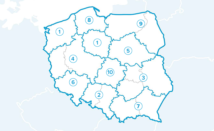 Mapka przedstawicieli handlowych Polkard