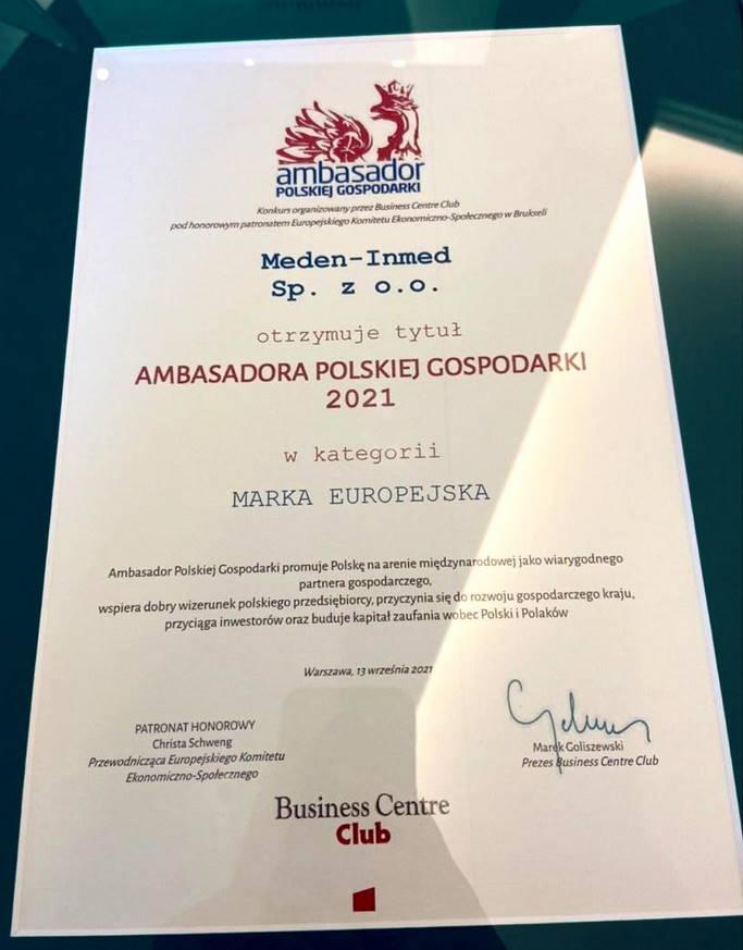 dyplom Ambasador Polskiej Gospodarki